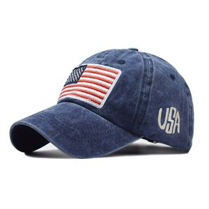 2020 explosion models washed to make old letters baseball cap wild trendy men and women American flag cotton hat