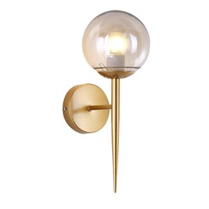 Modern Metal LOFT Glass Ball LED Wall Lamps Sconce Bedroom Wall Lights Fixtures Home Decor Foyer Living Room Corridor Luminaire