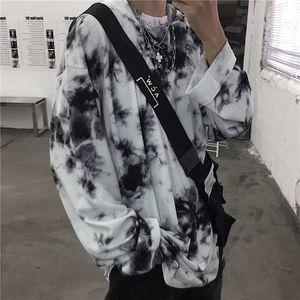 Nicemix Block Tie Dye Impresión de manga larga Jersey Streetwear Coreano Harajuku Punk Hip Hop Spring T Shirt T-Shirt Top suelto WO Y200412