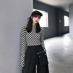 Deeptown Lattice Woman Tshirts Autumn Fashion Sexy Tops Women 2020 Korean Style Print T Shirt Kpop Streetwear Slim Long Sleeve F1211