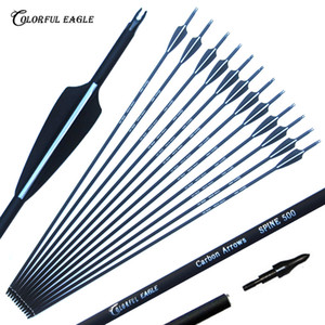 6 12 24 30pcs lot Carbon Arrow 28 30 31 Inch Spine 500 with Replaceable Arrowhead for Compound Recurve Bow Archery Hunting Q1201