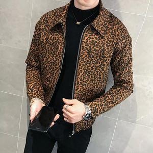 2020 Otoño Nuevo Hombres Leopardo Chaqueta y abrigo Diseñador de moda Chaqueta de cuero para hombre Zipper Piloto Club de hombre Ropa