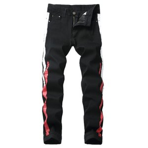 Hommes Imprimer Jeans Nouvelle mode Élastique Straight Biker Jeans Pantalon Casual Européen et American Pantalon Mâle Denim Pantalon Plus Taille 42