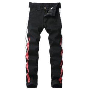 Men Stampa Jeans New Fashion Elastic Straight Biker Jeans European and American Casual Pant maschile Denim Pantalone Plus Size 42