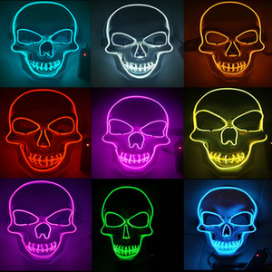 Halloween Carnival Party Costume Decoration Luminous LED Mask LED Maske Light Up Party Masks for Glow Party Glow In Dark 10 Colors To Choose