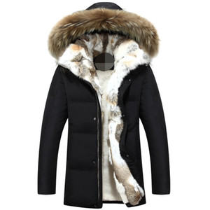 Haute Qualité -40 degrés Résistance à froid Russie Veste d'hiver Hommes Top Qualité Véritable Collier de fourrure Véritable Épais Chaud Blanc Duck Down Hommes Hiver Coat