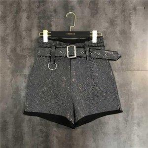 유럽의 새로운 디자인 여성의 하이 허리 벨트 슈셋 라인 석 시니 블링 패치 워크 느슨한 플러스 사이즈 반바지 바지 SMLXL1