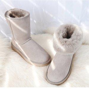 GZACO Mujeres de lujo con botas de piel de oveja clásicos de piel de oveja genuina zapatos de nieve zapatos de lana de cuero femenino de gamuza de invierno 201023