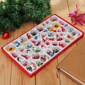 48 Pcs Traditional Wooden Christmas Tree Decorations Home Hanging Toy Set Lovely Delicate Hotel Restaurant Atmosphere Santa Clau