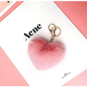 Heart Shaped Plush Keychain 8CM Women Backpack Pendant Decoration Love Car Key Chain Ring Pendant Valentine Day Girl Gift CCA2581