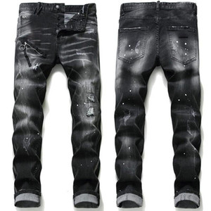 Mens Rips Stretch Black Jeans Fashion Slim Fit Washed Motocycle Denim Pants Panelled Hip HOP Trousers A17 ZNq