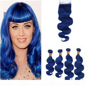 Blue foncé Body Wave Brésilien Coiffures 4bunles et fermeture 5 pcs Lot Pure Blue Blue Vierge Vierge Cheveux Humains Weave Wefts avec fermeture de dentelle 4x4