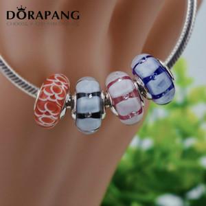 2021 Novo 925 Sterling Prata Handmade Jóias Rosa Triângulo Murano Glass Beads Fit Colar Europeu DIY Bangle Charm Braceletes Colar