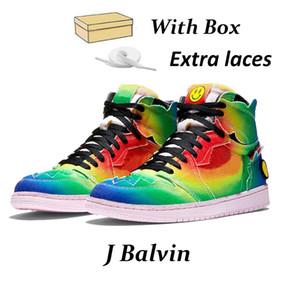 1 J Balvin 1s yüksek og erkek basketbol ayakkabıları 1 Tie Çok Renkli Gökkuşağı kutusuyla eğitmenler spor spor ayakkabıları mens boya jumpman