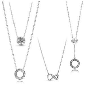 925 Sterling Silverling Infinity Collier com colar de cristal para mulheres festa de casamento moda jóias