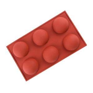 2.6inch Chocolate Silicone Mold 6 Holes Cake Bomb Jelly Dome Mousse Baking Semi Sphere Silicone Molds HHA1713