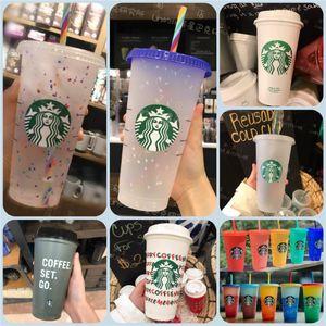 24oz cor alteração tumblers plástico bebendo suco de suco com lábio e palha mágica caneca de café Costom starbucks cor mudando copo de plástico
