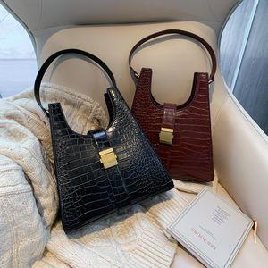 Patent Leather Stone Pattern Shoulder Bags for Women Winter Trend Hand Bag Women's Trending Luxury Handbags