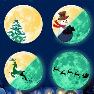 30cm Christmas Luminous Stickers Snowman Deer Pine Fluorescent Xmas Wall Sticker Merry Christmas Dhl Free Shipping Wholesale