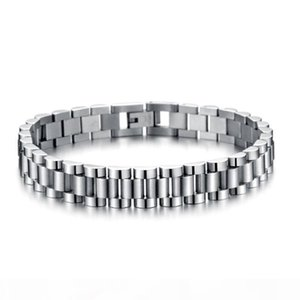 K Whosales -Mens Cool 10mm 21cm Silver 316l Stainless Steel Watch Band Bracelets Length Adjustable Mens Bangle Jewelry Gifts