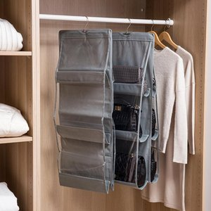 Cloth Dustproof Transparent Bag Clothing Handbag Storage Hanging Bag Household Finishing Wardrobe Cabinet Storage Rack With Hook