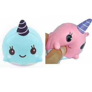 Venta al por mayor Mini Squeeze Toy Squishy Whales Lindo Kawaii Doll Hand Squeeze Stress Stripy Animal Healing Stress Paste En Para Casa Celular FWE2894