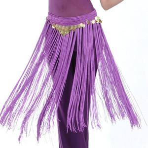 Belly Dance Hip Belly Scarf Bellydance Belt Dança Formação Tassel Fringe Scarf Para Mulheres Moedas Belt