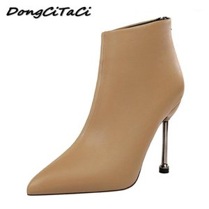 Dongcitaci Otoño Invierno botines Mujeres Tacones altos Botas Zapatos Tacones delgados Bombas Fiesta Sólida Boda Nightclub Boots Boots1