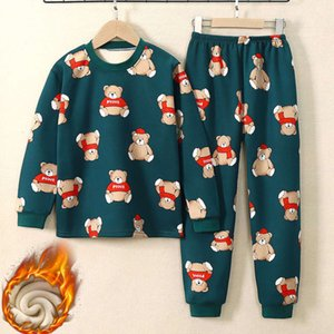 set plush Children's with warm underwear thickened cloth and autumn trousers
