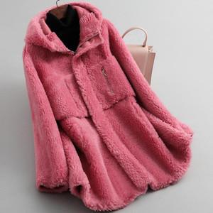 Coat Female Autumn Winter Real Clothes 2020 Korean Vintage Sheep Shearing Jacket Women Elegant Wool Fur Tops Hiver 05LW2149