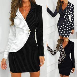 Осеннее платье Женщины Office Lady Sexy Leopard Print Поверните на шее Длинные рукава Кнопки BodyCon Работа Формальное платье