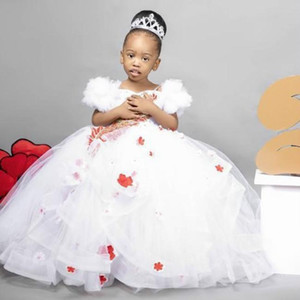2021 White Lace Crystals Flower Girl Dresses Spaghetti Ball Gown Tulle Little Girl Wedding Dresses Cheap Communion Pageant Dresses Gowns
