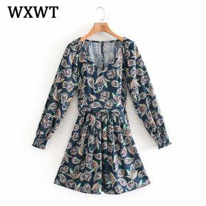 Wxwt Mulheres Chic Sashes Coleciona a cintura Slim impressão Dress Senhoras V Neck Manga Longa Vintage Vestido Vestidos LDSD98251