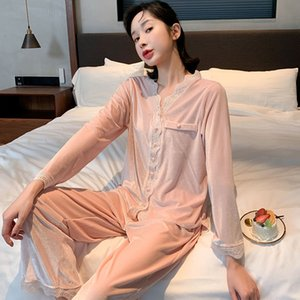 Pajamas Womens Autumn and Winter Thick Coral Fleece Korean Style Confinement Cute Gold Velvet Home Wear Warm Suit Can Be Worn outside