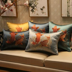 Lucky Fine Embroidery Koi Fish Sofa Chair Cushions Pillow Office Home Decor Backrest Chinese Lumbar Pillowcase 40x60 50x50 45x45 cm
