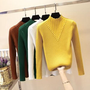 2020 Autumn Winter Turtleneck Women Sweater Long Sleeve Knitted Pullovers Tops Pull Femme Elasticity Casual Soft Jumper Jersey