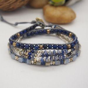 3Layers Lapis Lazuli Wrap Bracelet for Girls Crystal Blue Vein Natural Stone Metal Beads Boho Bracelets Ladies turmalina negra
