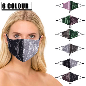 Bling Bling Mascarilla Mascarilla Dust Boca Glitter Mujer Adulto Sexo Adulto Moda Reutilizable Bling Brillante Ciclismo Lavable Piech Patchwork Shelly Blink Mask