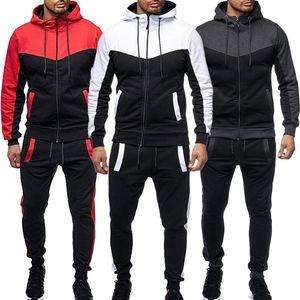 40# Men's Autumn Winter Packwork Blousetop Pants Sets Sports Suit Tracksuit Sweat All-match Leisure Splicing Capuche Femme