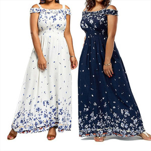 Floral Print Off Shoulder Dress Women Sexy Long Prom Party Dresses Summer Fashion Vintage Plus Size Beach Causal Sundress