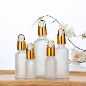 Vuoto Bottiglie ricaricabili per il profumo Bottiglia cestino glassato cestino del cestino del vetro trasparente liquido di aromaterapia di vetro per la pipetta di olio di massaggio essenziale