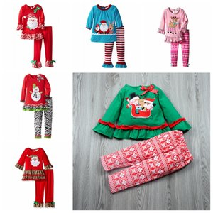 Christmas Clothes Baby Sanda Reindeer Tree Pattern Long Sleeve T-shirt Dress And Pants Two Piece Baby Girls Xmas Outfits Set YHM308