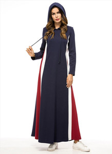 Thick Hooded Tracksuit Maxi Dress Women Muslim Arab Splice Jogging Sports Long Dress Walk Wear Musulman Turkey Islamic Clothing