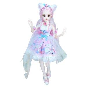 1/4 BJD Dairy Queen Nom de Rebecca Cheveux Rose Mécanique Corps Rose Cute Cat Vêtements Chaussures, 45cm F1216