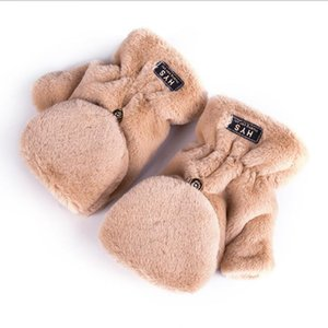 Soft Faux Fur Gloves Fuzzy Lined Flip Up Down Top Fingerless Winter Warm Cover Mittens for Teen Girls Women Outdoor Sports