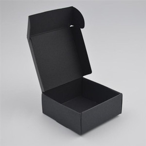 17Sizes Small Black Kraft Jewelry Pack Box Craft Packaging Box Handmade Soap Gifts Boxes for Wedding Party Foldable Paper