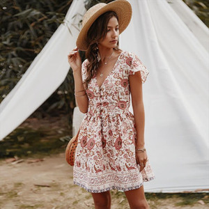 Vintage Boho Summer Dress Red Floral Elegant Button Women Sexy Short Sleeve V Neck Beach Party Dresses Casual Robe Sundress