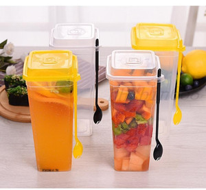 960ML Disposable Cups Thick Transparent Plastic Drinking Cups with Lid Juice Tea Cup with Fork SN1653 Free Shipping