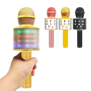 Ws858 Upgrade Lights Professional Wireless Karaoke Bluetooth Microphone With Bag Phone Condenser Microfono Record Music Player