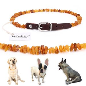 Baltic Amber Flea and Tick Collar with Adjustable Leather Strap for Dogs and Cats - Lab Tested Q1129